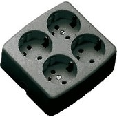 Martin Kaiser Tafelcontactdoos 4-voudig + RA vierkant zwart