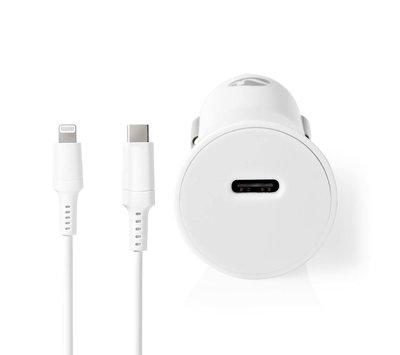 Nedis USB autolader met 1 USB C uit + lightning kabel 2m CCPDL20W111WT