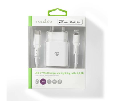 Nedis USB lader met 1 USB - C uit + lightning kabel 2m  WCPDL20W122WT