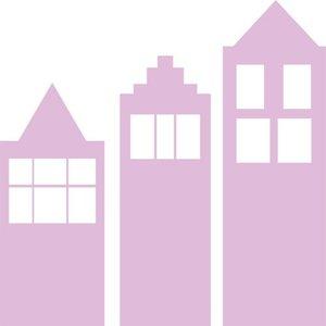 Klein & Stoer Muursticker 3 huisjes roze XXL