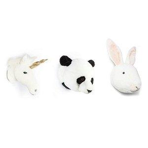 Wild and Soft Mini Lovely Set van 3 Dierenhoofden , Eenhoorn, Panda en Konijn