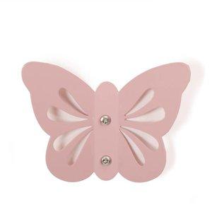 Roommate Wandhaakje pastel roze vlinder