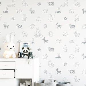 Kek Amsterdam Nijntje Animals grijs 97.4 x 280 cm