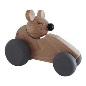 Kidsboetiek Houten auto met muis