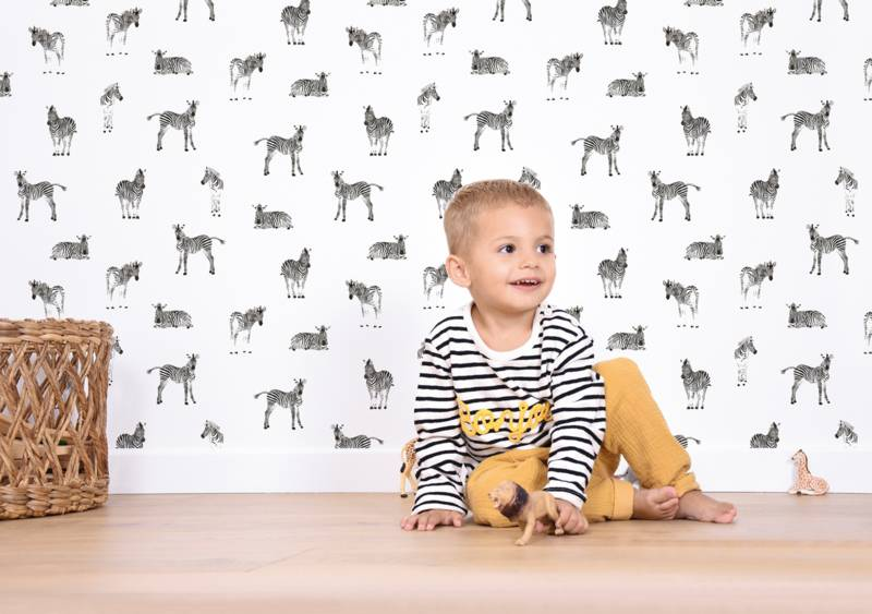 Behang Kinderkamer Zebra : Zebra zwart wit behang thema serengeti van lilipinso klein en stoer