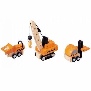 PlanToys Houten bouwvoertuigen (set van drie)