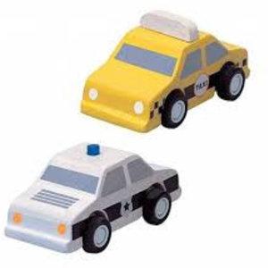 PlanToys Houten taxi en politieauto