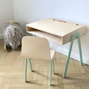 In2Wood Kinderbureau plus stoel mint