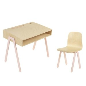 In2Wood Kinderbureau plus stoel roze