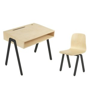 In2Wood Kinderbureau plus stoel zwart