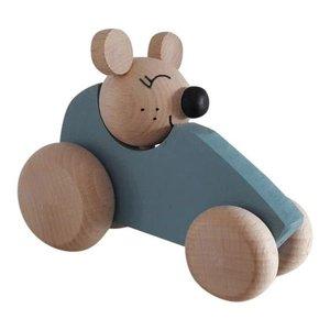 Kidsboetiek Houten auto met muis blauw