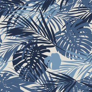 Klein & Stoer Bladeren Behang blauw, 96 x 280 cm