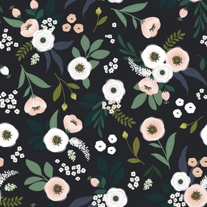 Lilipinso Wonderland flowers dark behang
