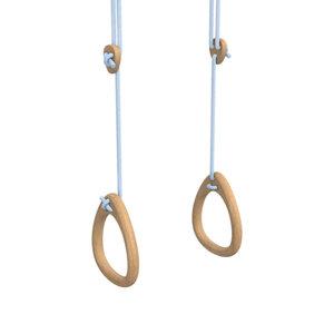 Lillagunga Houten turnringen lichtblauw touw