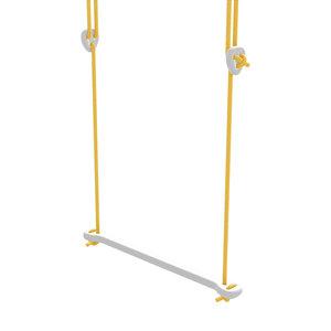 Lillagunga Witte houten trapeze geel touw