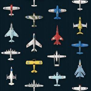 Studio ditte Vliegtuigen behang  donker