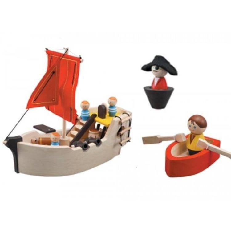 piratenschip van hout van Plantoys