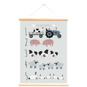 Little and Pure Schoolplaat boerderijdieren leren tellen, blauw