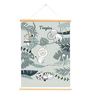 Little and Pure Schoolplaat wilde dieren tropics groen