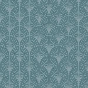 Klein & Stoer Art deco boogjes behang blauw, 96 x 280 cm