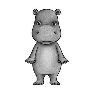 Stick Stay Nijlpaard muursticker (herbruikbaar)