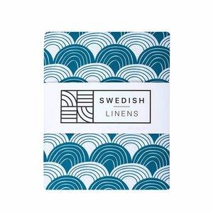 Swedish Linens Hoeslaken regenboog  Moroccan Blue (200 x 90 cm)