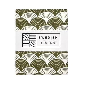 Swedish Linens Hoeslaken regenboog  Olive green (200 x 90 cm)