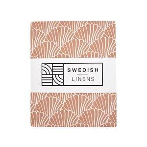 Swedish Linens Hoeslaken schelpen Terracotta pink (200 x 90 cm)