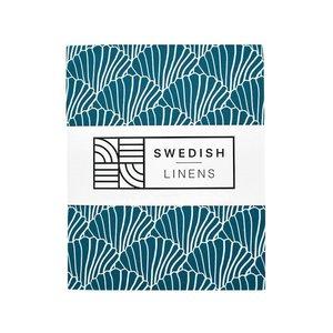 Swedish Linens Hoeslaken schelpen moroccan blue (200 x 90 cm)