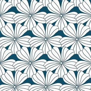 Swedish Linens Hoeslaken bloemen moroccan blue (200 x 90 cm)