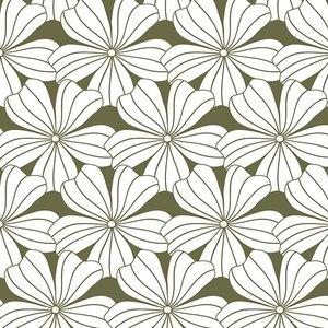 Swedish Linens Hoeslaken bloemen olive green (200 x 90 cm)