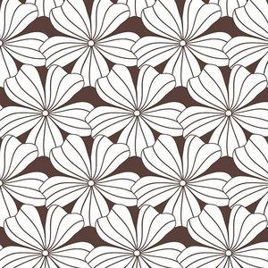Swedish Linens Hoeslaken bloemen dark chocolate (200 x 90 cm)