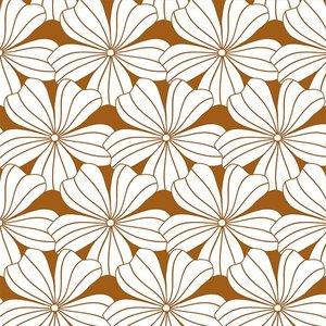 Swedish Linens Hoeslaken bloemen cinnamon brown (200 x 90 cm)