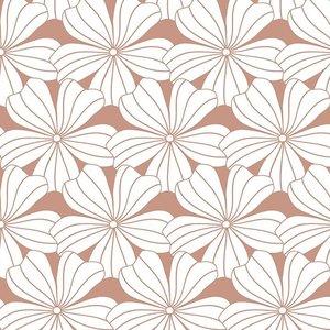 Swedish Linens Hoeslaken bloemen terracotta pink (200 x 90 cm)