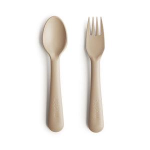 BIBS / MUSHIE Kinderbestek lepel en vork vanilla