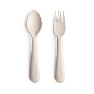 BIBS / MUSHIE Kinderbestek lepel en vork ivory