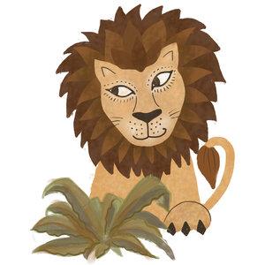 Klein & Stoer Muursticker leeuw  (herbruikbaar)