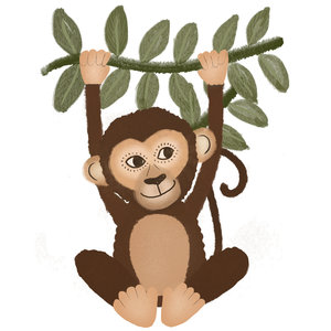Klein & Stoer Muursticker aap (herbruikbaar)