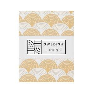 Swedish Linens Hoeslaken regenboog  Warm sand (200 x 90 cm)