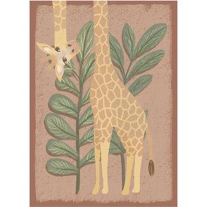 Klein & Stoer Kinderposter giraffe roze A4formaat