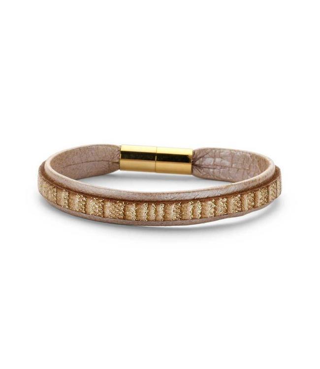 Souvenirs de Pomme Armband leder shimmer blush