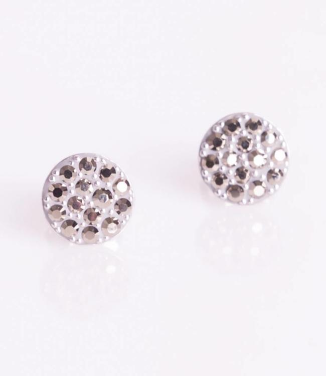 Phantasya Oorbel Crystal Sphere Stud Grey