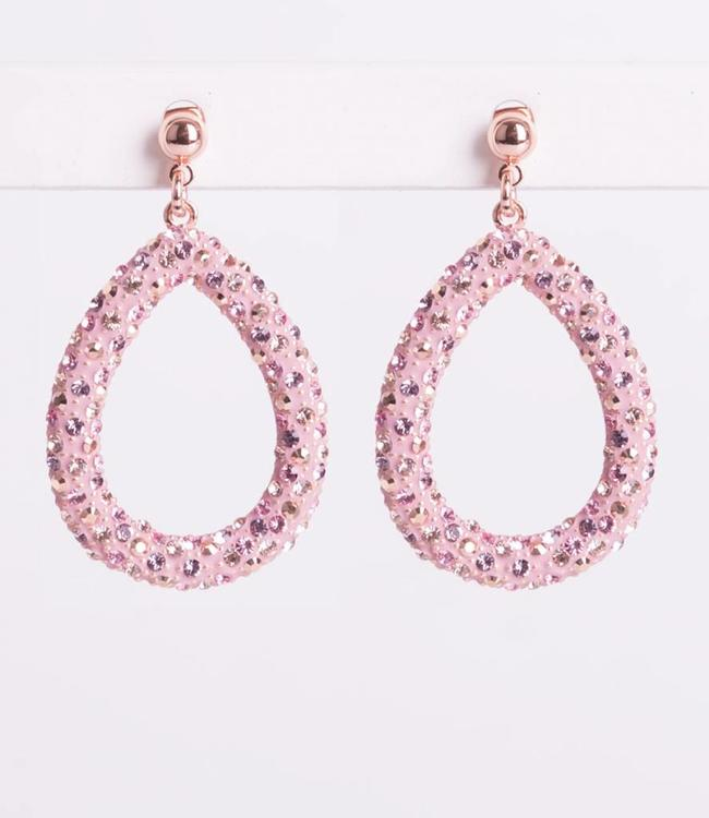 Phantasya Oorbel Crystal Big Drop Pink