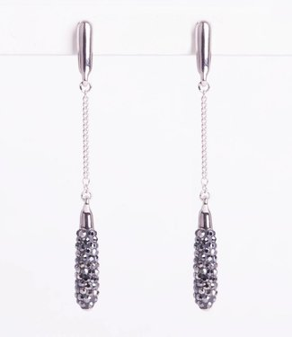 Phantasya Oorbel Long Crystal Drop Black