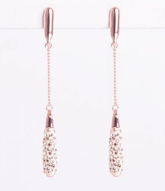 Phantasya Oorbel Crystal Long Drop Rosegold