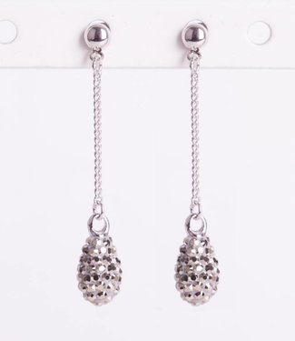 Phantasya Oorbel Crystal Drop Stud Grey
