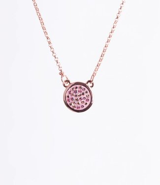 Phantasya Halsketting Crystal Round Drop Pink