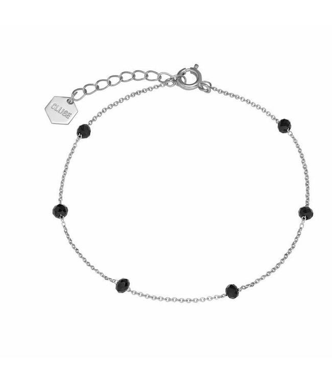 Cluse Armband Silver Black Crystals Chain 
