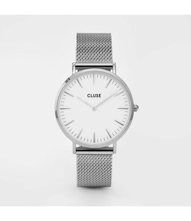 Cluse Uurwerk Boho Chic mesh silver/white