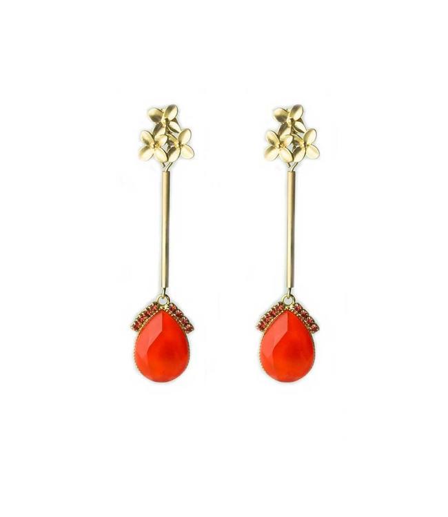 Souvenirs de Pomme Oorbel petal pendant Orange